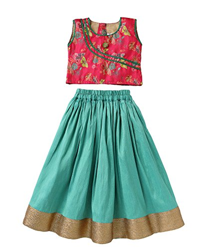 - Mom's Girl Butterfly Design Choli & Lehenga Set - Green & Pink,Ethnic Wear, Girl Dresses,Silk Lehenga Choli (2-3 Years)