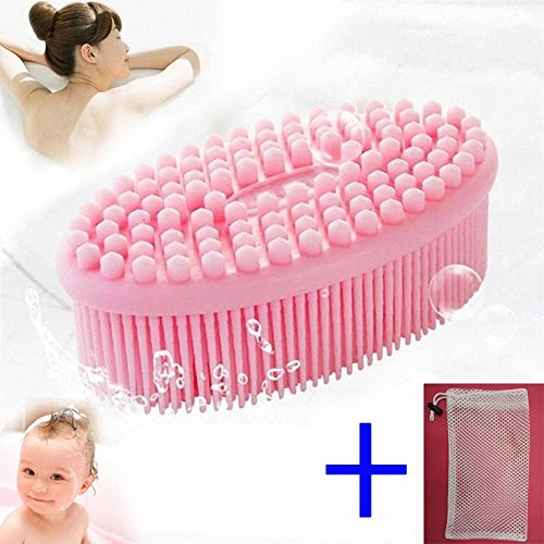 Price comparison product image Bath Brush Soft for Baby Kid Elderly Women Patient - BagTu Shower Loofah Silicon Brush Multi-Use Face Body Massager Brush Shampoo Scalp with Grid Storage Bag (Pink)