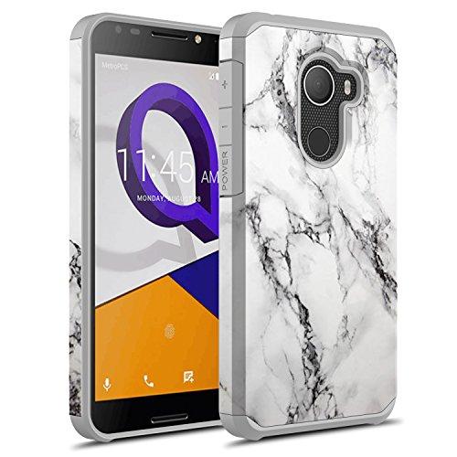 Alcatel REVVL Case (T-Mobile), Alcatel A30 Fierce (2017) Case, Alcatel Walters Case, Rosebono Hybrid Dual Layer Cover Graphic Fashion Colorful Silicone Skin for Alcatel A30 Plus (White Marble)
