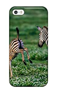 Iphone 5/5s Case Cover - Slim Fit Tpu Protector Shock Absorbent Case (nature Animal Zebra Green)