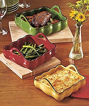 (Ship from USA) SET OF 3 HANDLED CASSEROLE BAKERS OVEN HOME GIFT FANCY NESTING KITCHEN STONEWARE /ITEM NO#E8FH4F85447562