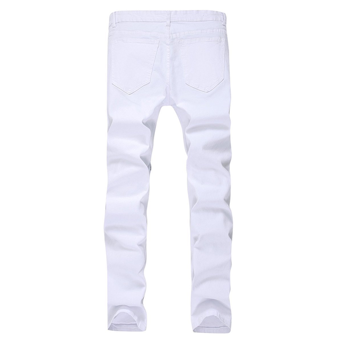 TOPING Fine Fashion;Handsome Men's Distressed Jeans Zipper Stretch Tapered Leg Slim Fit Ripped Jeans White1Tagsize30=USsize29