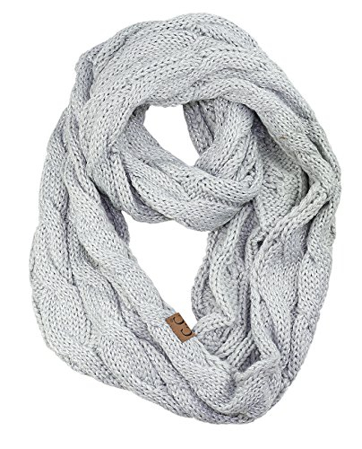 NYFASHION101 Soft Winter Warm Chunky Knit Cowl Infinity Loop Scarf, Metallic Silver