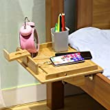 Upgraded Version Larger Bedside Shelf for Bunk Bed, Bamboo Attachable Bed Shelf, Great Use as Kids Nightstand, Dorm Room Bed Tray for Students, Organizer for Laptop, Phones, Tablet, Toys, Drink, Clock