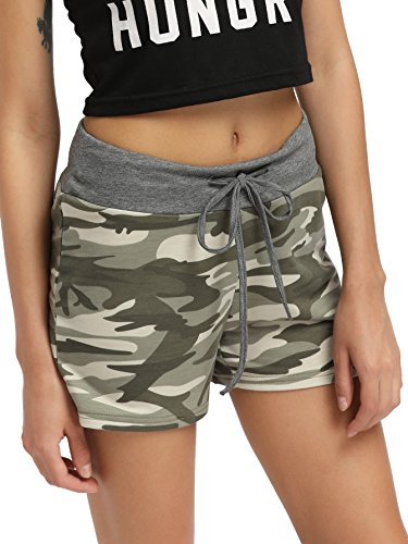 SweatyRocks Camouflage Workout Yoga Shorts Pants Hot Shorts Women Summer Casual Shorts Green XXL
