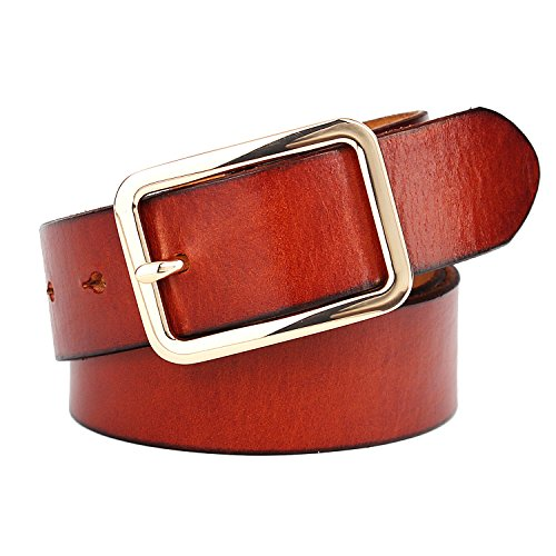 (Leather Belt for Women with Classic Polished Alloy Buckle 1.3