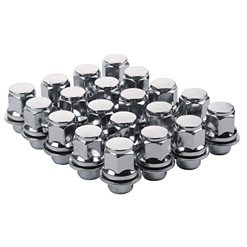 ZY Wheel Set of 20pcs 12X1.5mm Hex 13/16'' (21mm) Chrome Mag Style lug nuts with Washer Closed End for Toyota Lexus Scion Pontiac Factory OEM Mag Seat (Style Wheels Set)