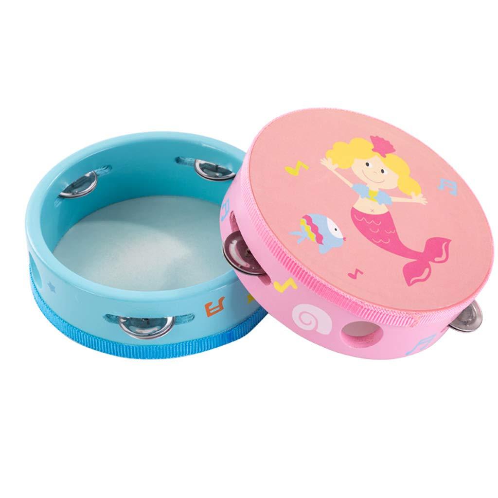Kindergarten Teacher with Tambourine Baby Child Wooden Hand Drums Baby Hand Music Instrument Tambourine Toy Boy Girl (Color : Blue)