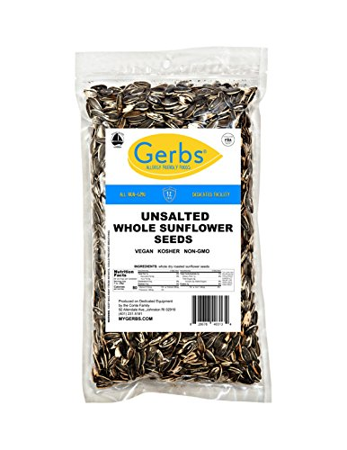 GERBS Unsalted Whole Sunflower Seeds by 4 LBS - Top 12 Food Allergy Free & NON GMO - Vegan & Kosher - In-Shell Dry Roasted Seeds Grown in USA by GERBS