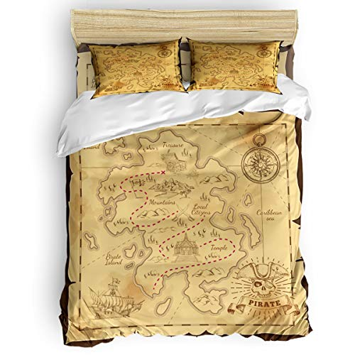 GreaBen Twin Beding Duvet Cover Sets 4 Pieces Comforter Cover Set,Treasure Map of Pirates of The Caribbean Bed Sheet Set for Girls Boys,Include 1 Comforter Cover 1 Bed Sheets 2 Pillow Cases