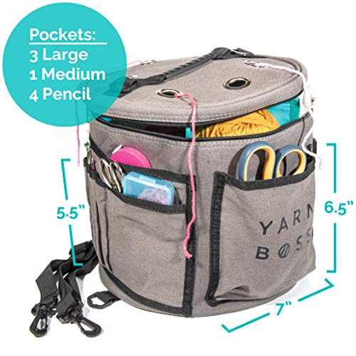Yarn Boss Yarn Bag, Travel With Yarn and all Notions - Yarn Storage To Organize Multiple Projects and Keep Your Yarn Safe and Clean - Wide Grommets Stop Tangling for Best Crochet Bag or Knitting Bag by Yarn Boss (Image #1)