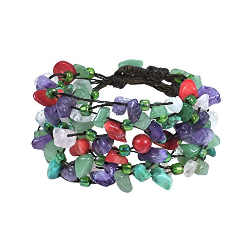 AeraVida Cascading Multi-Stone Cluster on Cotton Wax Rope Layered Strand Bracelet