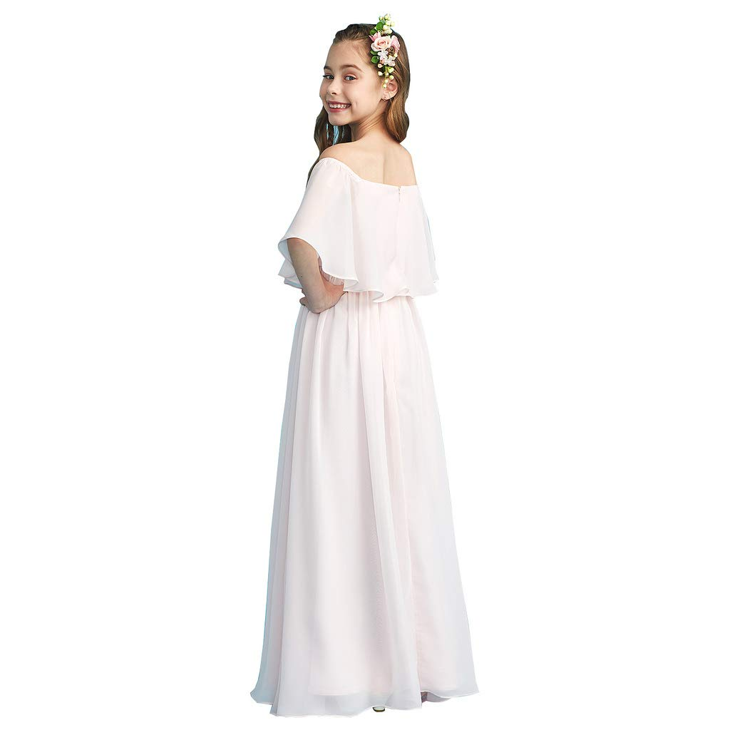 3518d6a631ea LightInTheBox A-Line Princess Off Shoulder Floor Length Chiffon Junior  Bridesmaid Dress with Pleats at Amazon Women's Clothing store: