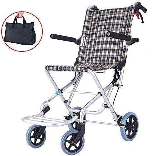 Hyl Sillas de Ruedas Aluminio Transporte sillas de Ruedas con Asiento 14 Inch - Silla de Ruedas Plegable for Transporte y Almacenamiento - Ruedas 10 traseras Pulgadas for un Viaje más Suave, 220 LB c