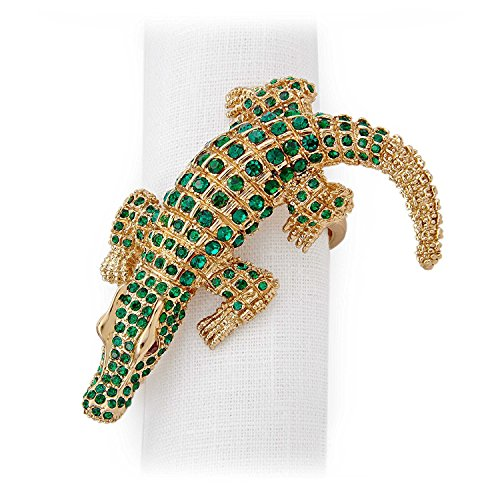 L'Objet Gold Plated Crocodile Napkin Rings, Emerald Swaro...
