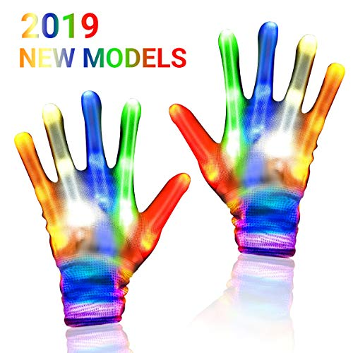 YOUAU LED Gloves Lights Flashing Finger Lights 5 Colors 6 Modes Halloween Costume Party Novelty Light Up Toys for Kids Age for 4 5 6 7 8 9 10 11 12 Boys Girls