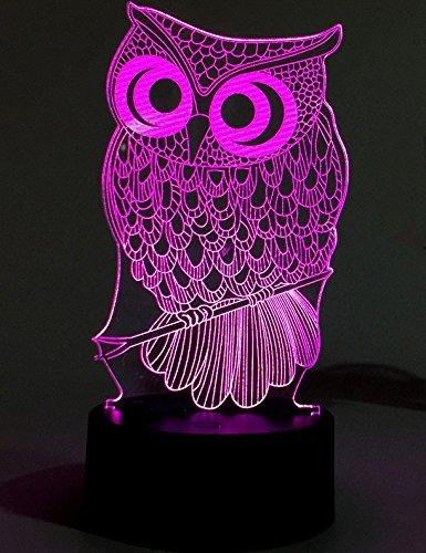 Lightingsky 3D Table Lamp Touch Control 7 Colors Night Light USB Desk Lighitng (Owl)