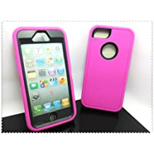 Multi Color Iphone 5 5S Body Armor Silicone Hybrid Cove Hard Case, Three Layer Silicone PC Case Cover for iPhone 5 5S (Hot Pink+Black)