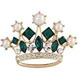 Princess Crown Tiara Brooch Green Rhinestone Pearl Women Jewelry Sweater Shawl Scarf Buckle