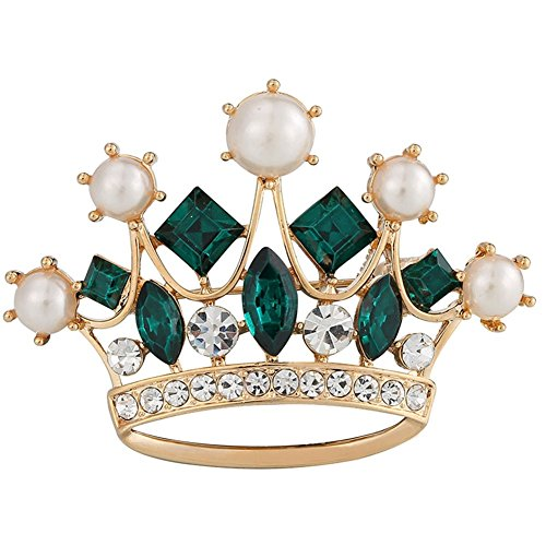 [Princess Crown Tiara Brooch Green Rhinestone Pearl Women Jewelry Sweater Shawl Scarf Buckle] (Peppermint Butler Costume)