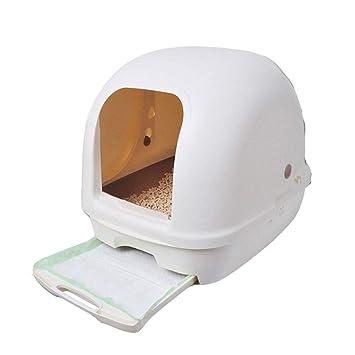 Wybxfat La Caja de Arena para Gatos, Tipo de Borde Alto, Capucha Plegable Bandeja