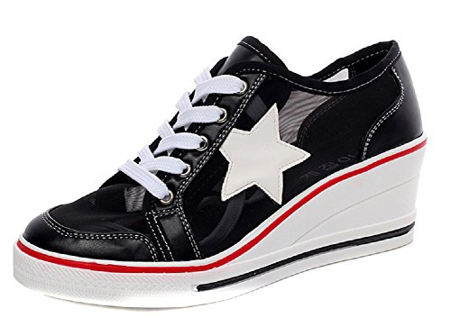 Sneakers Fashion 0 Pump Wedge Shoes Heeled Shoes Womens Canvas black High Shoes JiYe BAT1qxvx