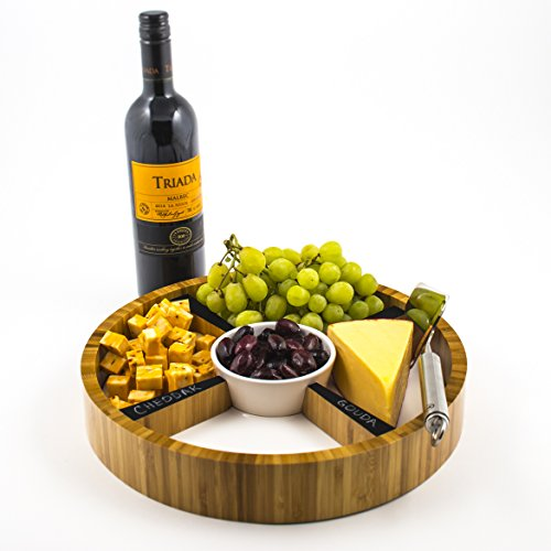 Eco-Friendly Bamboo Cheese Tray with Removable Ceramic Dish & Chalkboard Dividers - Perfect Hostess Gift, Great for Cheese, Condiments, Appetizers. Round, 13