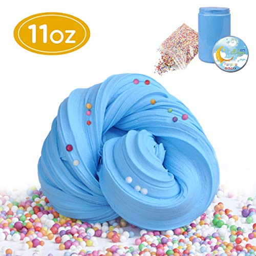 Funplus Fluffy Slime - 11 OZ Jumbo Fluffy Floam Slime Stress Relief Sludge Toy for Kids and Adults Stretchy and Soft - Blue