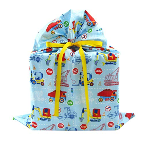 (Construction Trucks Reusable Fabric Gift Bag for Child's Birthday or Baby Shower (Large 20 Inches Wide by 27 Inches High))
