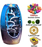 Sweet Alice Incense Burner, Ceramic Backflow Incense Holder, Home Decor Aromatherapy Ornament, with 100 pcs Incense Cones, Cushion, Artificial Lotus Leaf
