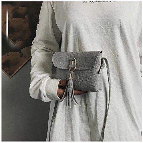 Mode Damen Tasche Vintage Handtasche Klein Mini Umhängetasche mit Quaste Schultertaschen Frauentasche Ledertasche Freizeit Cross Body Schulter Messenger Bag Elegant Clutch Grau 6Orspkd
