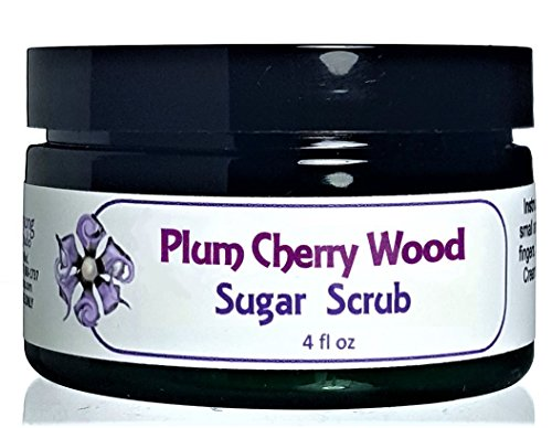 Flowersong Sugar Scrub, Plum Cherry Wood Scent - Turbinado Sugar Health