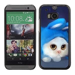Caucho caso de Shell duro de la cubierta de accesorios de protección BY RAYDREAMMM - HTC One M8 - White Cat Rabbit Costume Art Drawing Blue