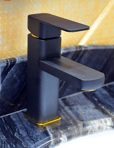 Zeitgenössische schwarze Malerei ein Loch Einhand Waschbecken Wasserhahn