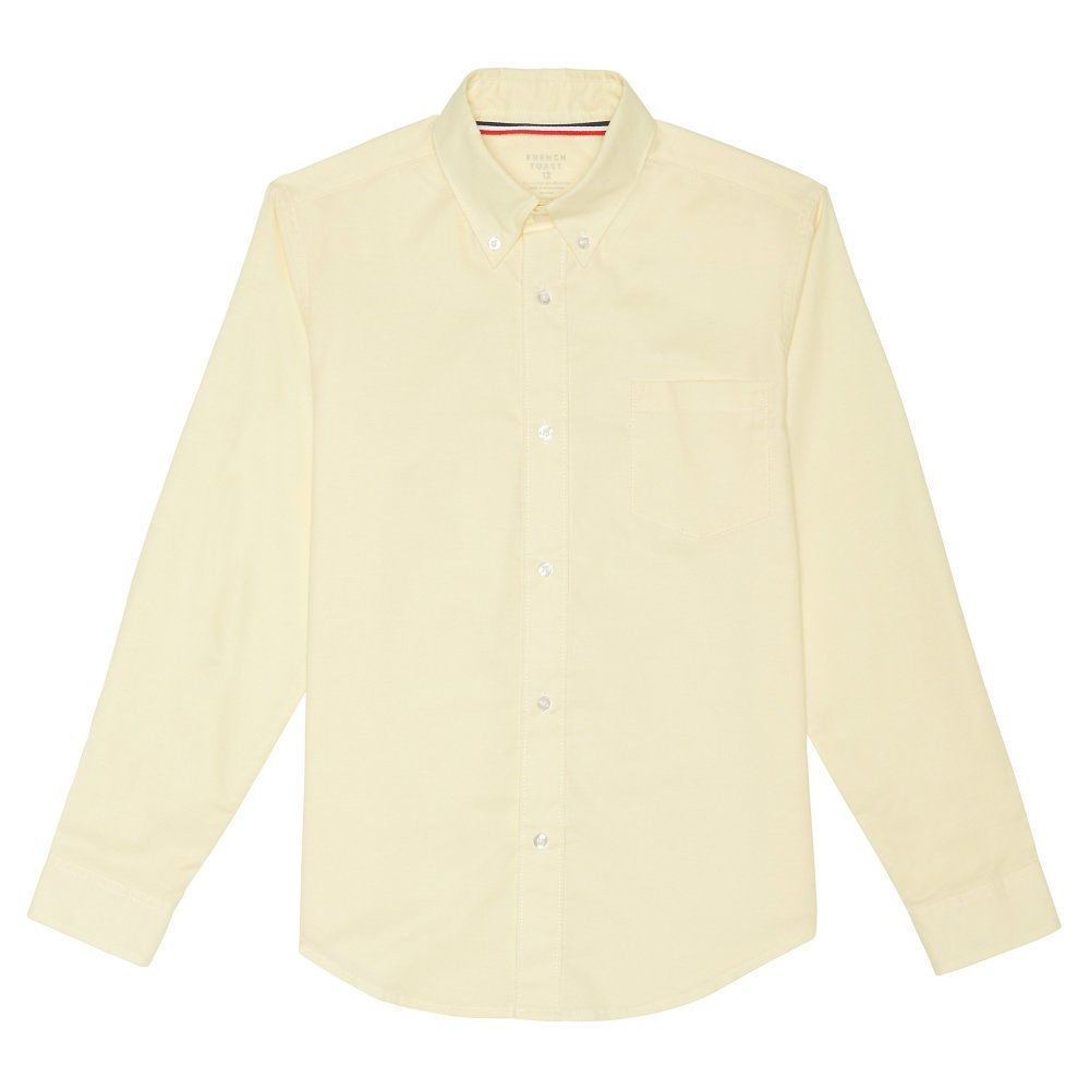 French Toast Big Boys' Long Sleeve Oxford Dress Shirt, Yellow, 12