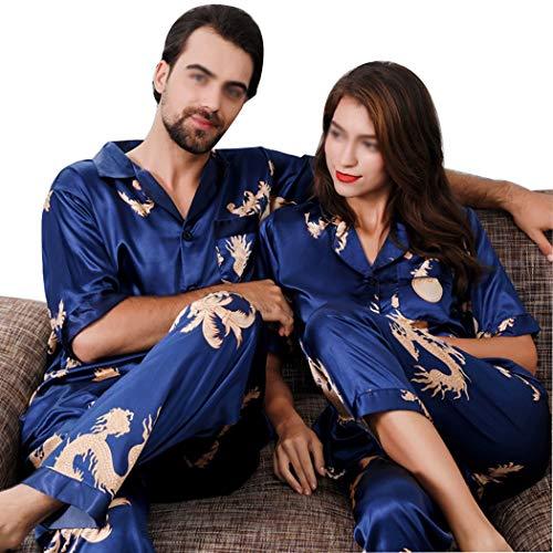 Seda Conjunto Alta Tamaño Azul Estilo Manga Otoño Imitación Men's Pijamas Chino A Ropa Finos Casa Corta Parejas Y Huifa color L Primavera Para De Azul wCpIqdd