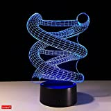 DNA Sequence 3D Night Light Lumiere LED Optical Illusion Lamp with USB Cable, 7 Colors Change, Smart Touch & ABS Base, Cool Birthday Gift for Boys and Girls