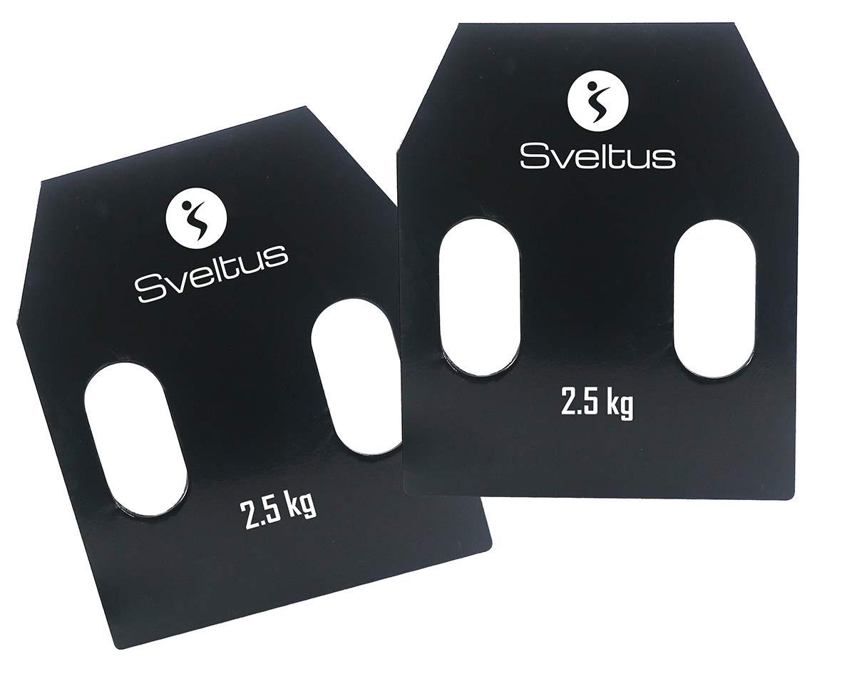 Taille Unique Sveltus Plaques Acier avec poign/ées 2,5 kg Adulte Unisexe Noir