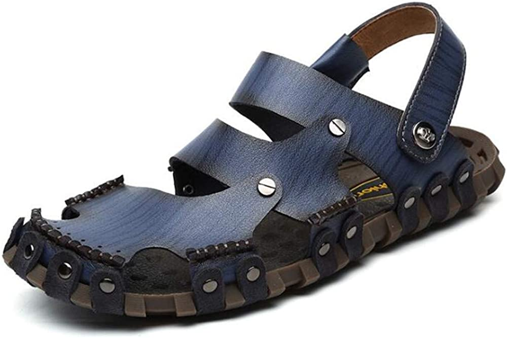 US Men Blue,Lable 42//8 D Mens Leather Sandals Comfortable Soles Breathable Button Closure M