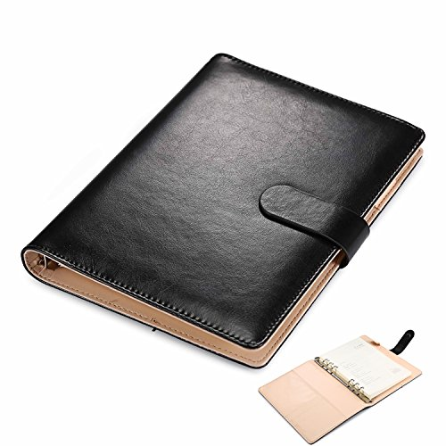 A5 Softcover Leather Ring Binders Writing Notebook,Spiral-Bound Journal Executive A5 Diary with Magnet Closure,Lined Pages,Perfect for Office Business School by UBAYMAX