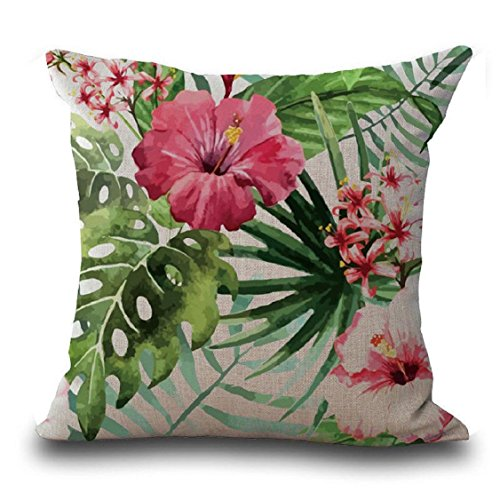 18' Tropical Decor (Vovomay Flower Tropical Leaves Home Decorative Throw Pillow Cover Cushion Case Square Pillowslip For Home Decor 18 X 18'' (B Color))