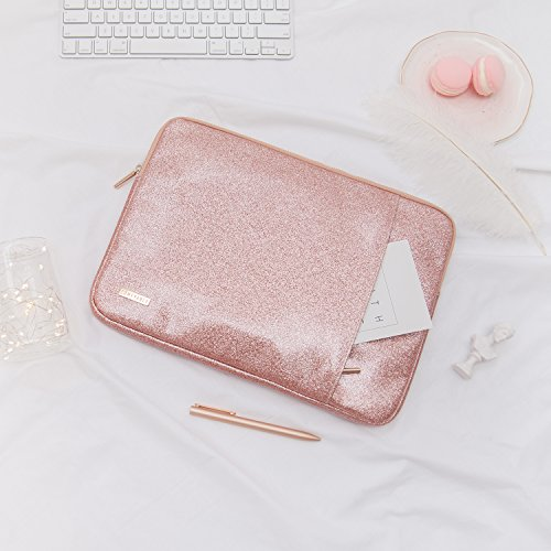Comfyable Laptop Sleeve for MacBook Pro 13-13.3 Inch & Mac Air 13-13.3'', Notebook Computer Case w/Pocket- Waterproof & Soft Cover- Rose Gold Pink Glitter by Comfyable (Image #6)