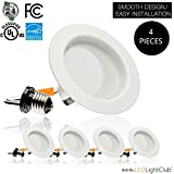 (4 Pack)-4 inch LED Downlight Trim, 10.5W (75W Replacement), 700 Lm, EASY INSTALLATION, 3000K (Soft White), Retrofit LED Recessed Lighting Fixture, Dimmable, ENERGY STAR, Retrofit Kit Down Light