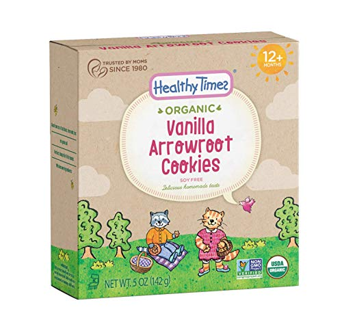 (Healthy Times Organic Arrowroot Cookies for Kids, Vanilla | For Toddlers 12 Months and Older | Healthy Soy Free Snack | 5 oz Box, 1 Count)