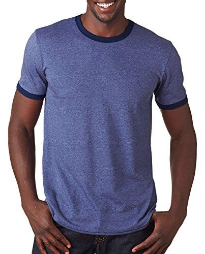 Anvil Adult Lightweight Ringer T-Shirt, Hthr Blue/Nvy, X-Large