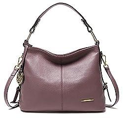 Cooserry Hobo Handbags Genuine Leather Shoulder Crossbody Zipper Bag With Pockets For Women Rose Pink