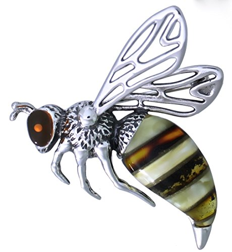 Multicolor Amber Sterling Silver Bee Pin Brooch