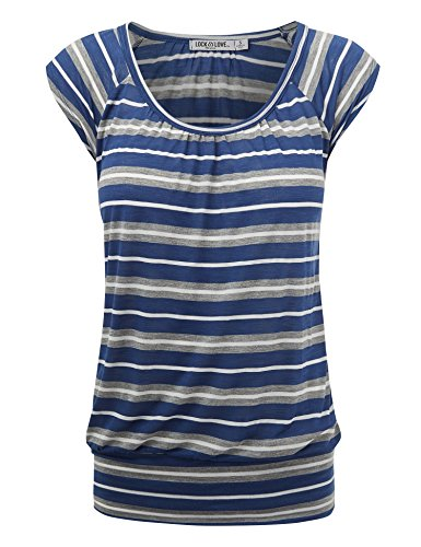 WT1358 Womens Scoop Neck Short Sleeve Stripe Sweerheart Top M Royal_Stripe
