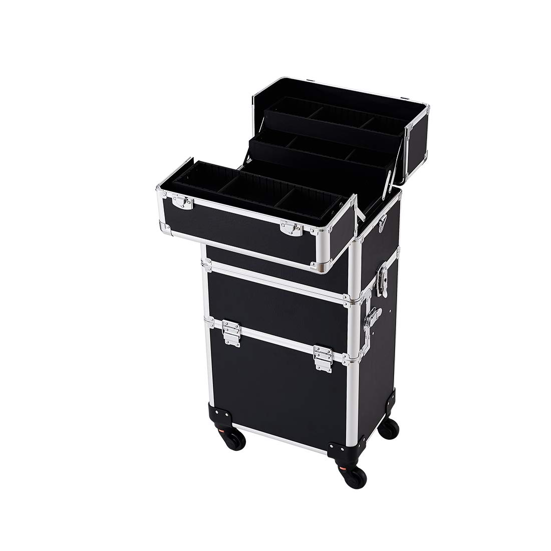 Makeup Case - 3 In 1 Aluminum Professional Rolling Cosmetics Storage Organizer With Locks and Folding Trays Black by NHSM (Image #3)