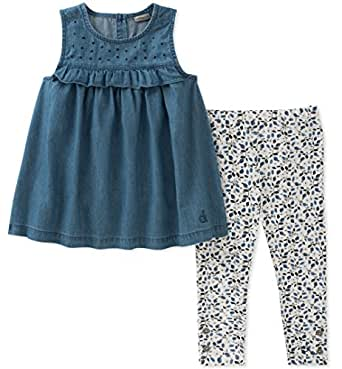 Calvin Klein Girls' Toddler Tunic Set, wash Blue/Print, 3T
